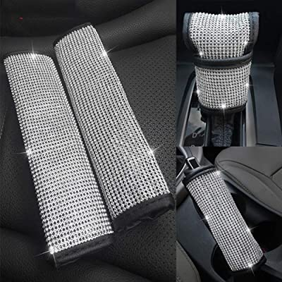 Dotesy 4pcs/Set Crystal Diamond Seat Belt Cover & Gear Shift Knob Cover & Handbrake Cover - Rhinestone Leather Handcraft Bling Bling Car Accessories for Women Universal Fit: Automotive