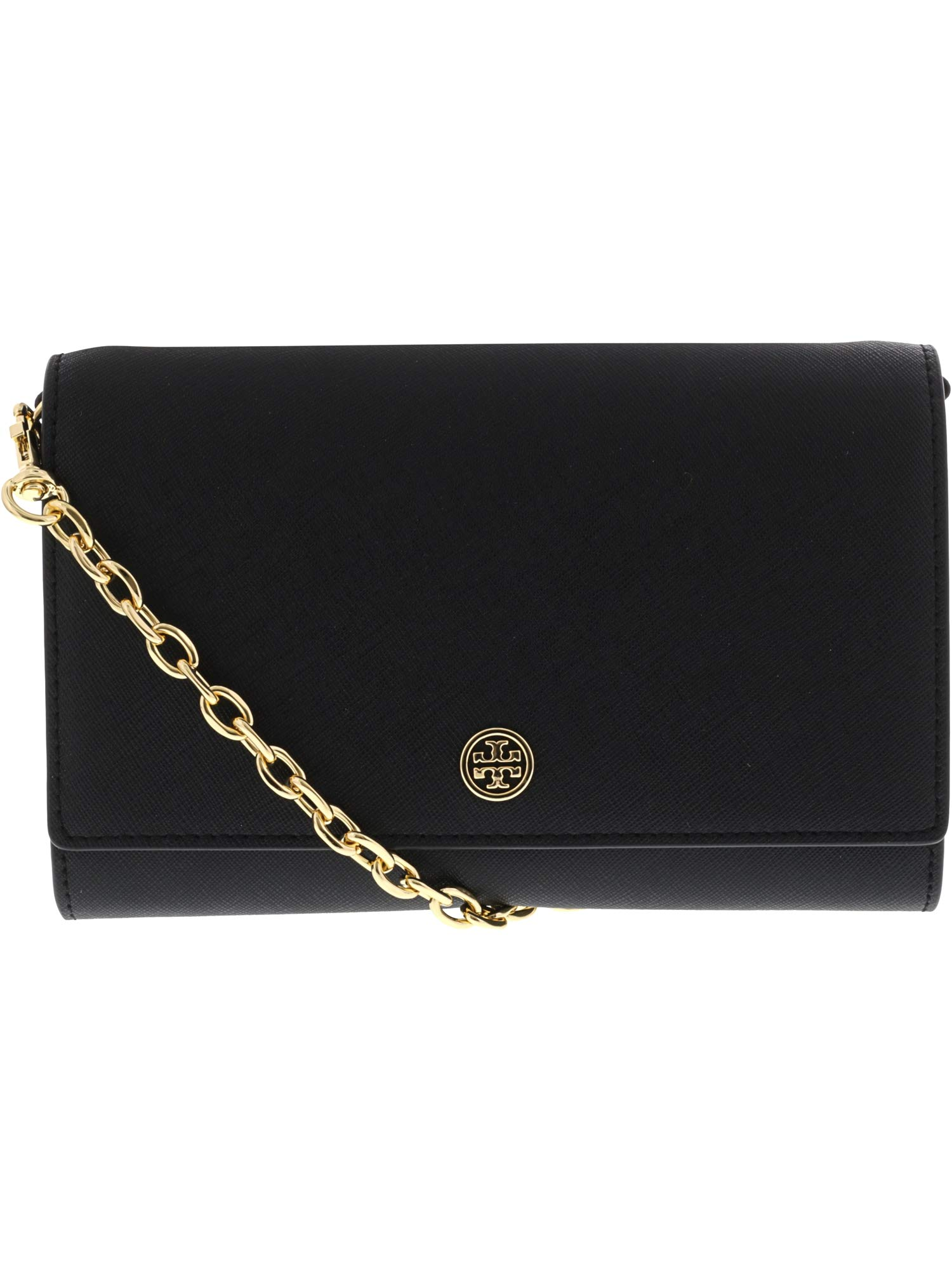 Tory Burch Women's Robinson Wallet on a Chain, Black/Navy, One Size