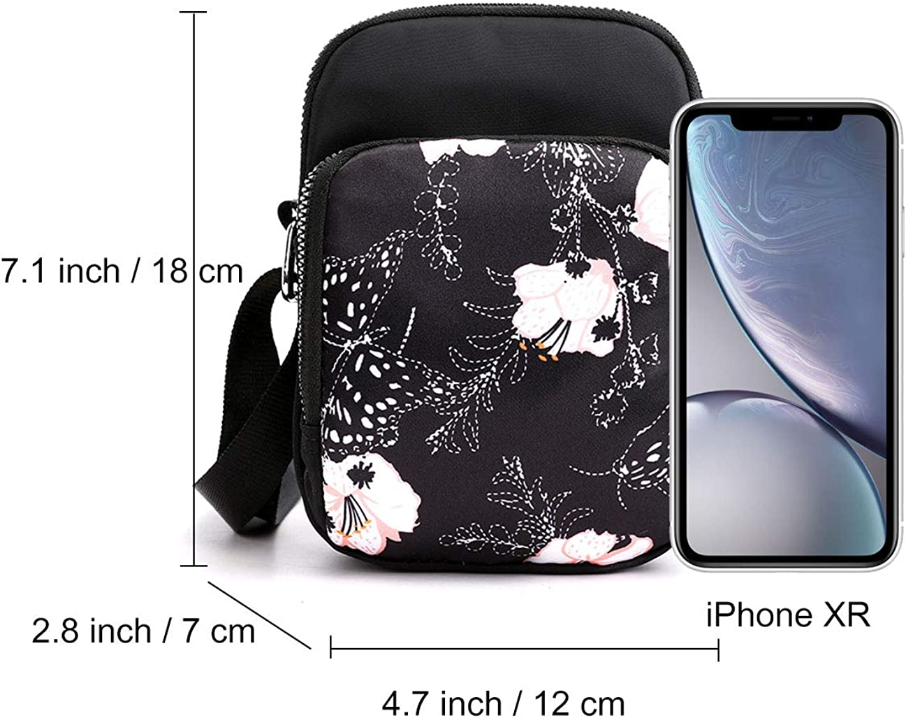 Yogwoo Pochette /étanche pour t/él/éphone portable Petit sac /à bandouli/ère 3 couches Compartiments pour tenir le t/él/éphone portable Voyage Poche anti-vol Fermeture /Éclair