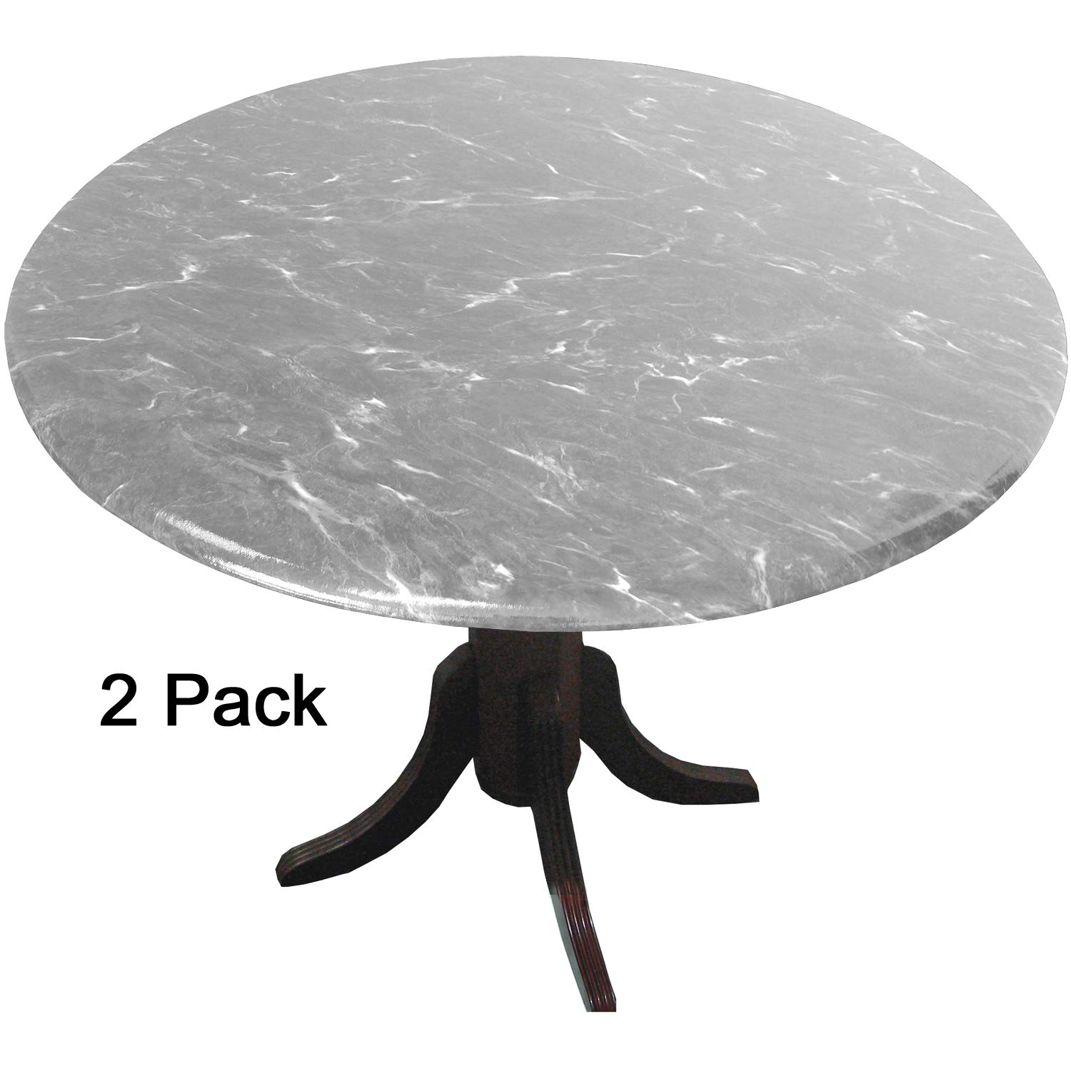 MarbleTops 2 Pack Fited Vinyl tablecloths (tablecovers, Table Covers) - Florentine Marble Gray