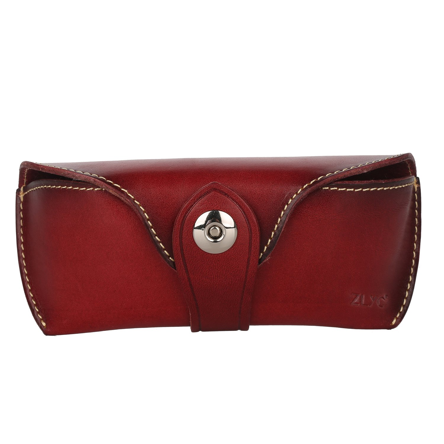 ZLYC Vegetable Tanned Leather Buckle Closure Hard Eyeglass Case Sunglasses Holder, Dark Red LY-YJ-03-DR_CA