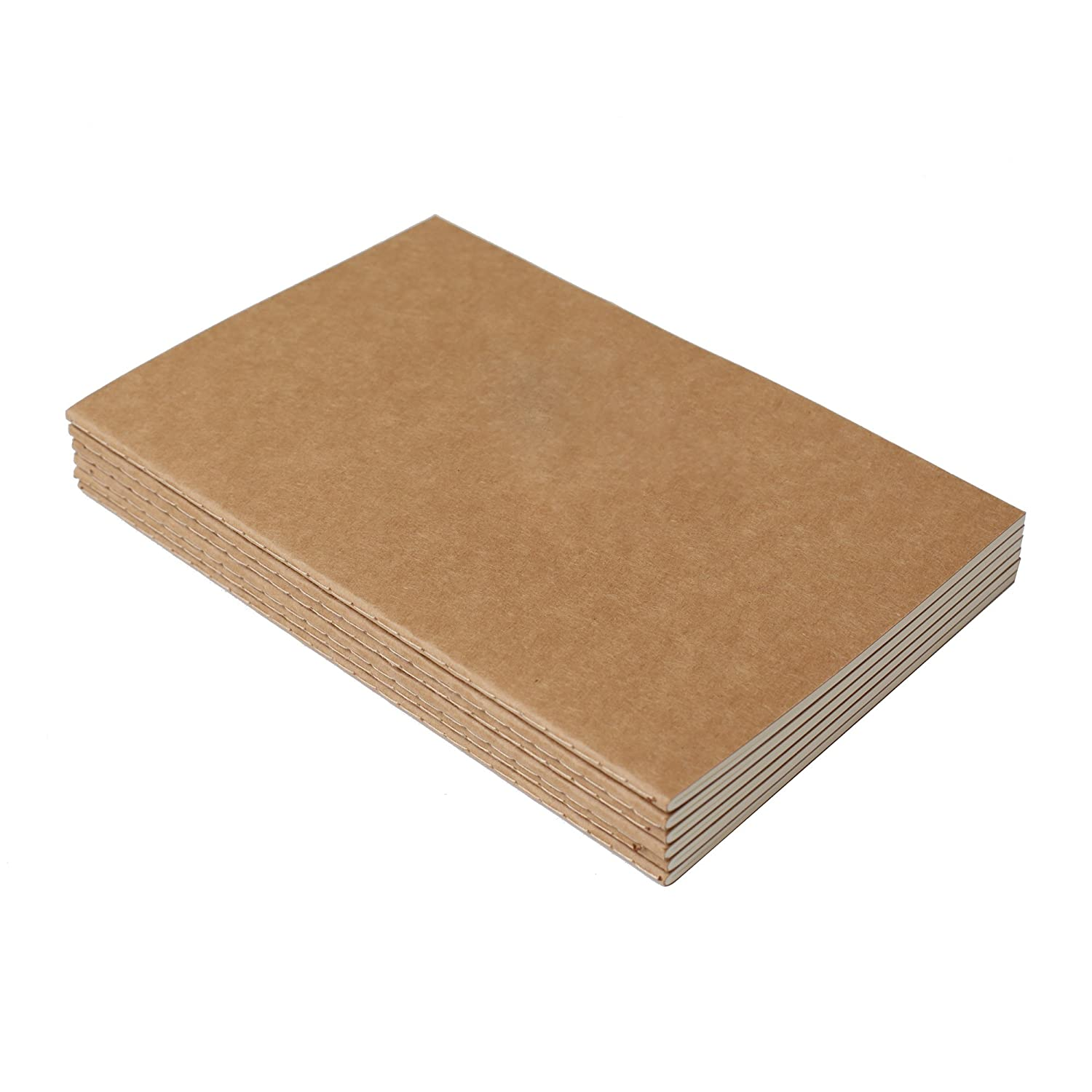 Kraft Brown Soft Cover Travel Journal Set With 6 Notebook Journals for Travelers 60 Square Grid Pages// 30 Sheets A5 Size 210 mm x 140 mm