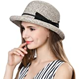 SiggiHat Women Summer Straw Sun Hat UPF Ladies Beach Accessories Fashions  Hats Fedora Short Brim Packable f3529e6871c7