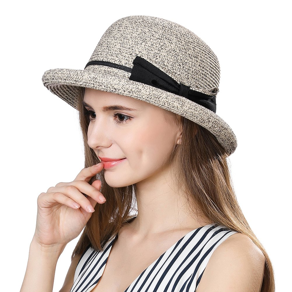 e7813f243d3 Ladies Summer Sun Hats Women Floppy Panama Straw Beach Hats Foldable Rolled  Short Brim - UPF 50 ...