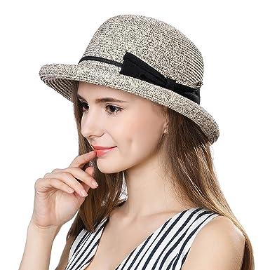aaa068684ef SiggiHat Women Summer Straw Sun Hat UPF Ladies Beach Accessories Fashions  Hats Fedora Short Brim Packable