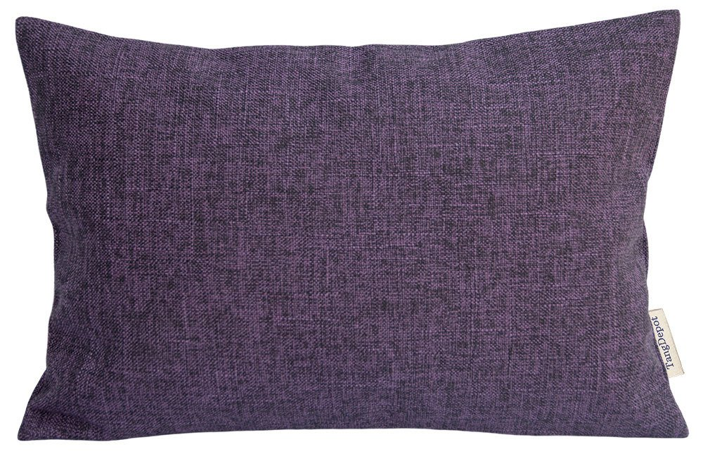 TangDepot Heavy Lined Linen Cushion Cover, Throw Pillow Cover, Rectangle pillow covers, Decorative Cushion Cover Pillowcase - (12''x20'', Purple)