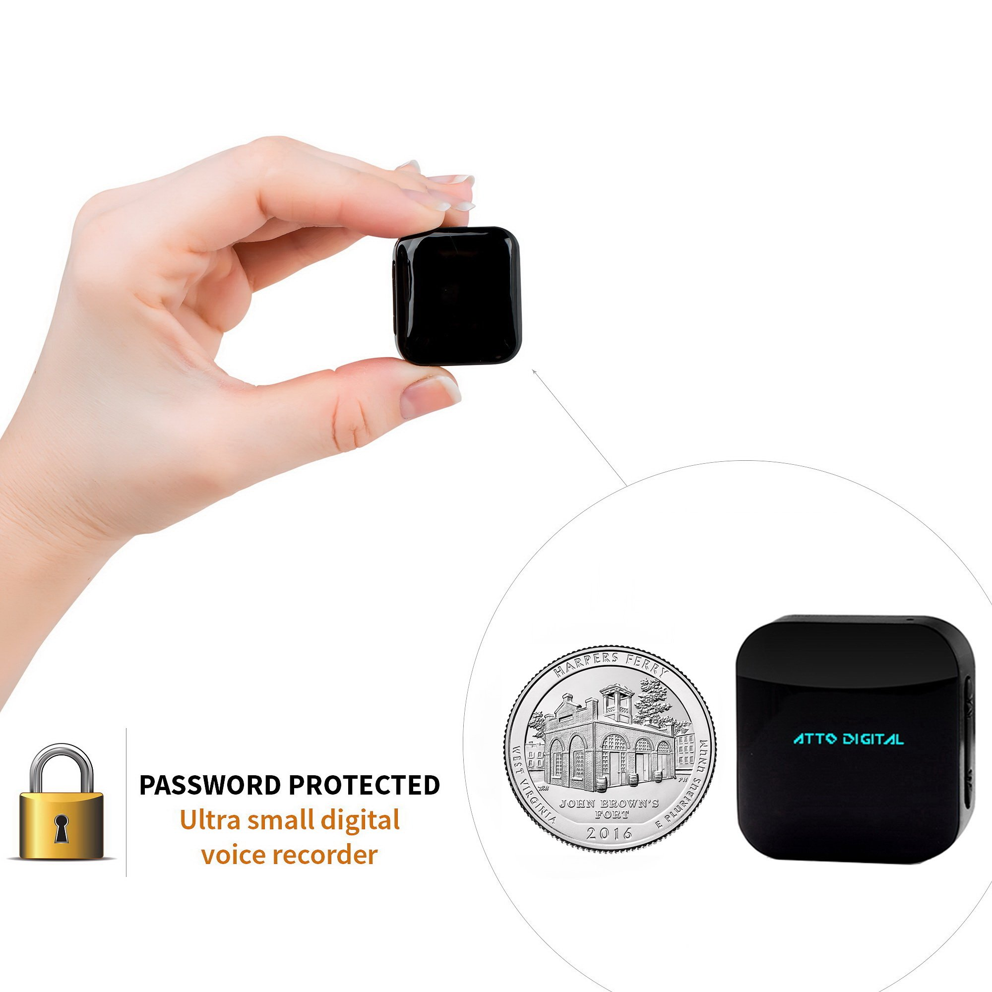 Mini Voice Recorder - Voice Activated Recording - 286 Hours Recordings Capacity - up to 24 Hours Battery Life - Password Protection - 2018 Upgrade - aTTo digital
