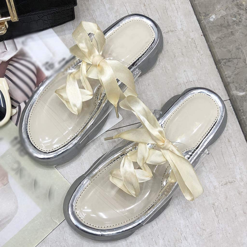 Peize Womens Fashion Transparent House Slippers,Ladies Solid Color Ribbon Slippers Casual Slip Beige