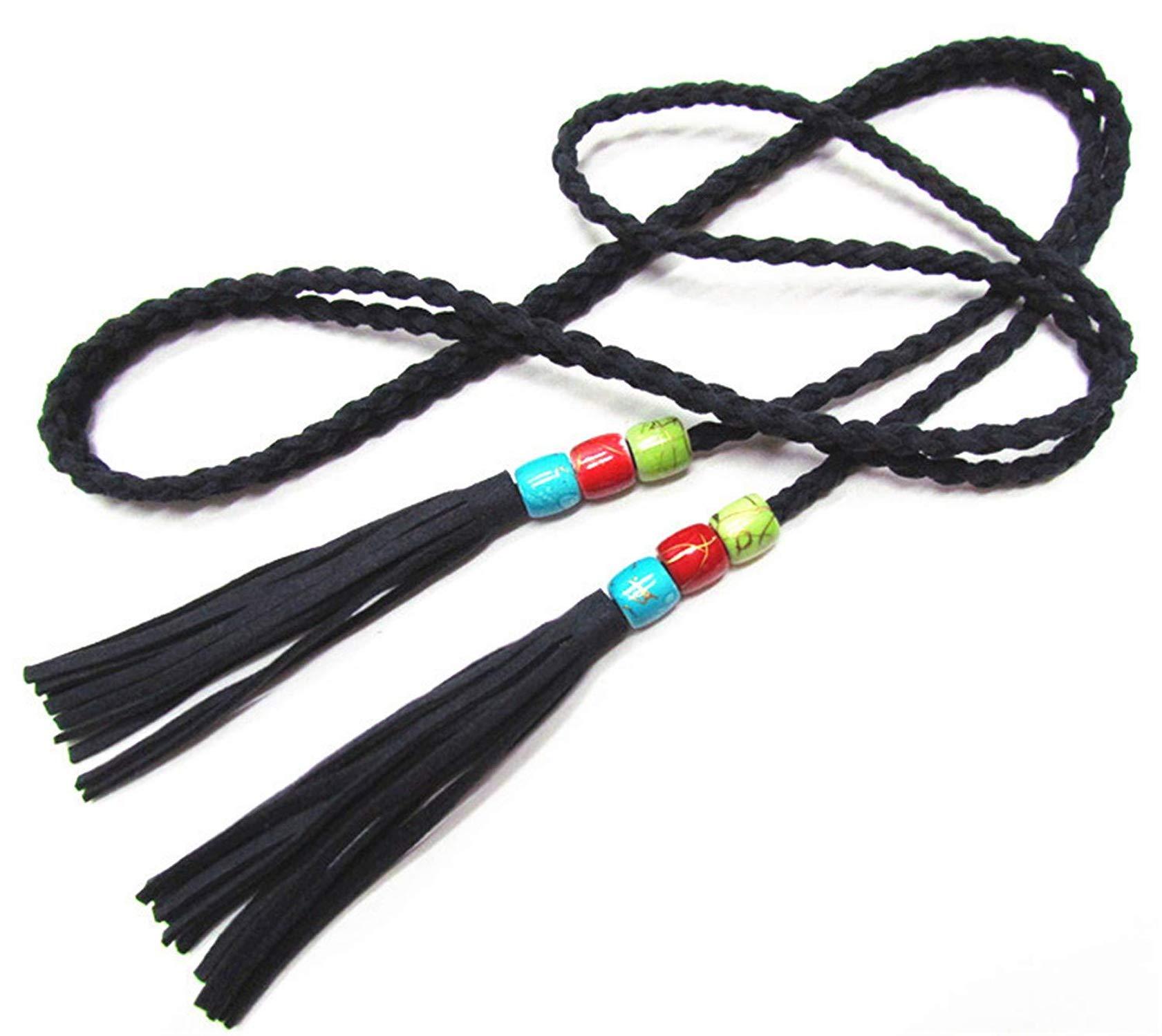 OnIn lady Beaded woven thin belt women belts,170cm,DeepBlue