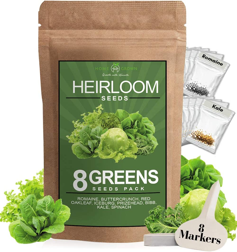 Lettuce and Greens Seed Vault - Non-GMO Seeds for Planting Indoor or Outdoor - Kale, Spinach, Butter, Oak, Romaine Bibb & More - Hydroponic Home Garden Seeds (8 Variety)