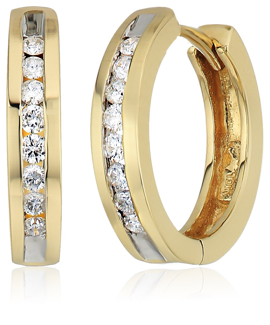 10k Yellow Gold Channel-Set Diamond Hoop Earrings (1/3 cttw, H-I Color, I2-I3 Clarity) by Amazon Collection