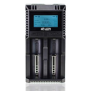 Lioncell LC2000D 18650 Cargador de pilas recargable charger rápido Carga con 2 entradas y Pantalla LCD para Ion de Litio Li-Ion batería accu (18650, ...