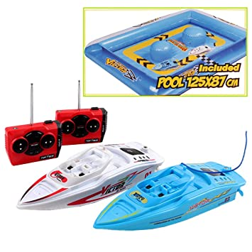 deAO RC Mini Barcos de Carreras con Piscina de Obstaculos Inflable Incluida - Set de 2