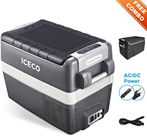 ICECO JP40 Portable Refrigerator Fridge Freezer, 12V Cooler Refrigerator, 40 Liters Compact Refrigerator with Secop Compressor, for Car & Home Use, 0℉~50℉, DC 12/24V, AC 110/240V