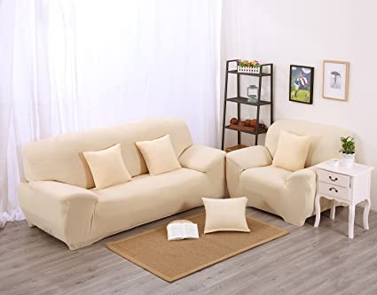 Beige High Elasticity Fabric Sofa Slipcover Couch Cover Protector  Three Seater 74 90 Inch