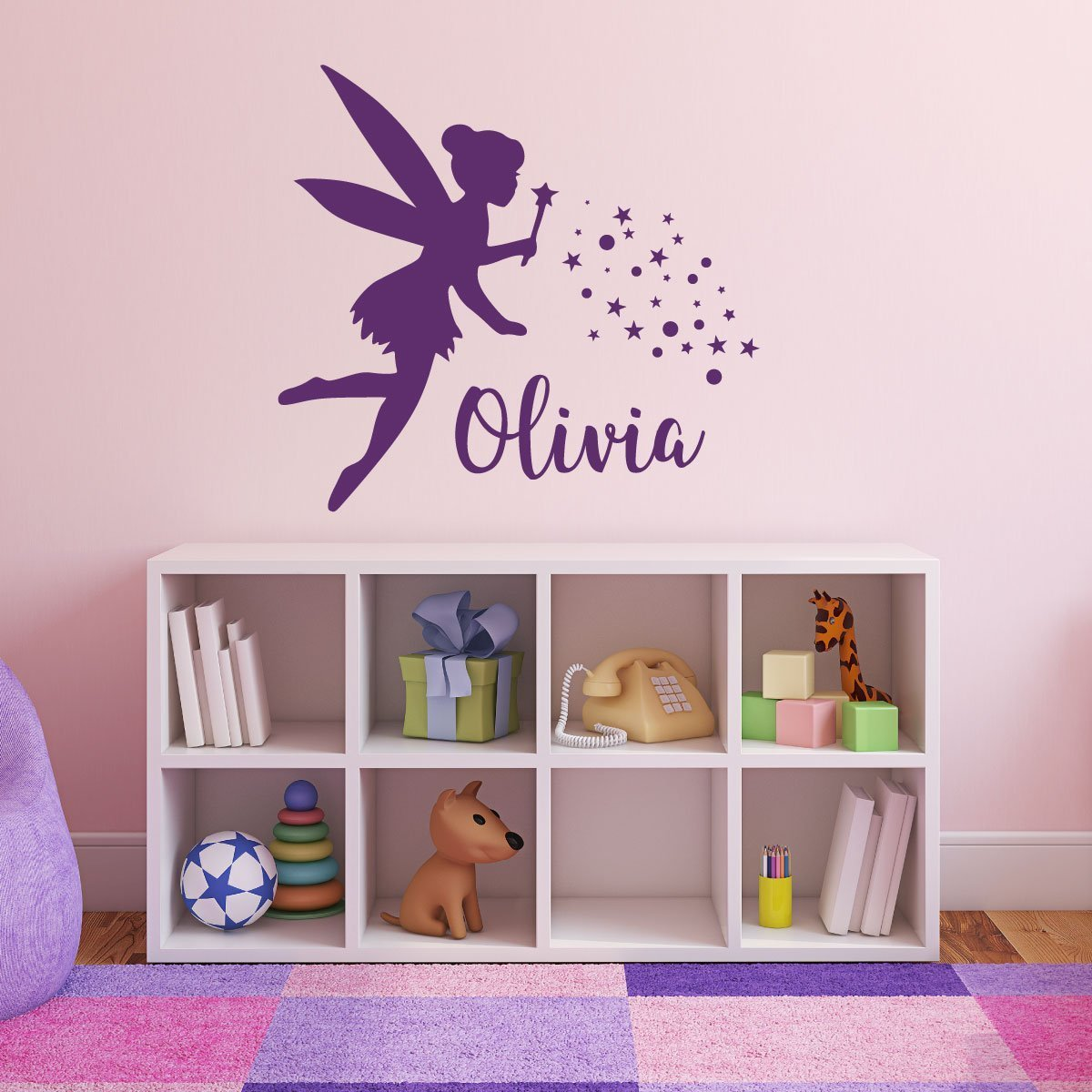 Amazon fairy wall decal with pixie dust personalized vinyl amazon fairy wall decal with pixie dust personalized vinyl sticker for girls room available in pink purple other colors home decor for nursery amipublicfo Images