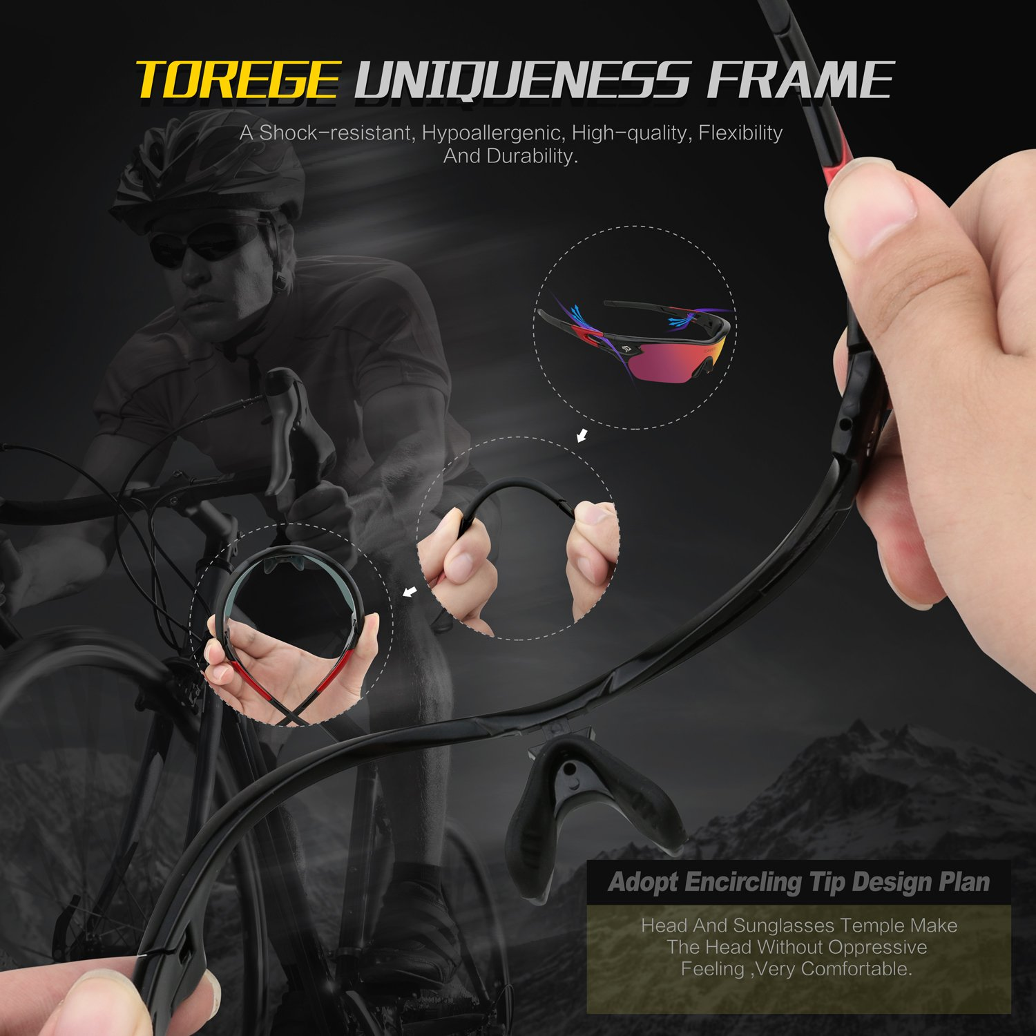 5db91e9ebdc81 TOREGE Polarized Sports Sunglasses with 5 Interchangeable Lenes for Men  Women Cycling Running Driving Fishing Golf Baseball Glasses TR002 (Black Red   Red ...