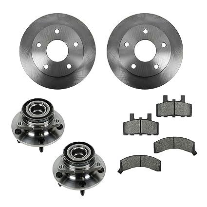 Front Disc Rotors Hub Assembly /& Semi-Metallic Brake Pads Fits Ford Mazda