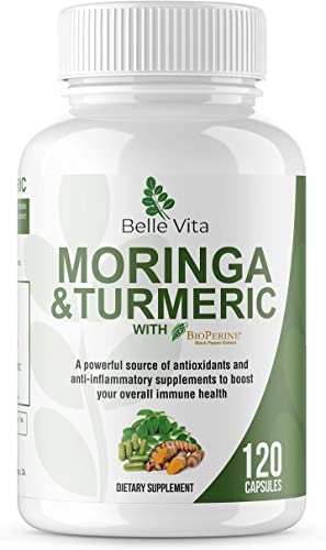 Premium Moringa Turmeric 120 Count 100 Organic Powders 1100mg Complete Supplement Superfood Complex Blend of Moringa, Turmeric, and Bioperine Pepper Extract No GMO s, Gluten, Vegan Capsules