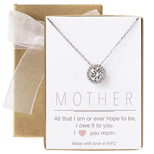 A O Gift for Mom, Aunt, Grandma – Solitaire Halo Necklace in Gold, Rose Gold, Silver