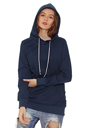 f812bd30aef VESSOS Femme Sweat-shirt à Caphuche Hoodie Casual Manches Longues - Bleu  Marine - S