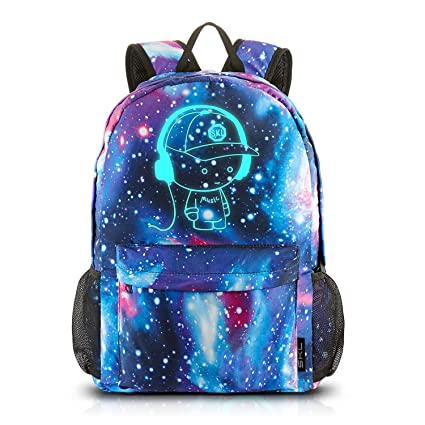 6dbb29394d52 Image Unavailable. Image not available for. Color  School Backpack Cool  Luminous School Bag Unisex Galaxy Laptop Bag with Pencil Bag for Boys Girls