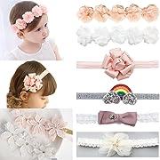 DANMY Baby Girl Super Stretchy Headband Big Lace Petals Flower Baby Hair Band Newborn Hair Accessories (Flower (8pcs))