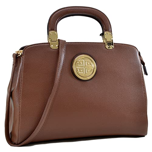 Amazon.com  Dasein Golden Emblem Metal Hinge Handle Tapered Briefcase  Shoulder Bag Handbag Tablet Bag iPad Bag w Removable Shoulder Strap -  Brown  Shoes edfa273c149f1