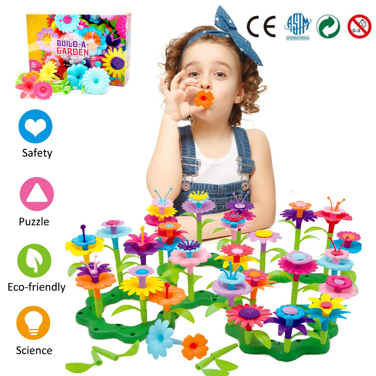 Binteng Flower Building Toys Set for Girl 98 Pcs Creative Preschool Educational Toys Garden Bouquet Blocks Playset Kids Christmas Birthday Gifts for 3 4 5 6 7 Year Old