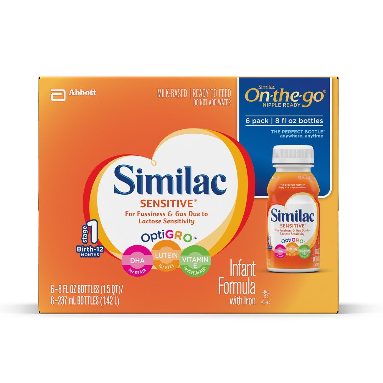 similac Sensitive unterwegs Nippel Flaschen bereit – 8 Oz – 24 Pk