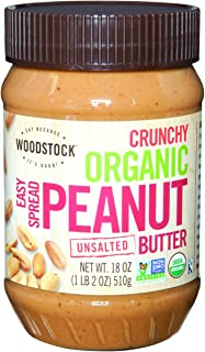 product image for Woodstock Farms Organic Peanut Butter, Easy Spread, Crunchy, No Salt, 18-Ounce Jars (Pack of 4)