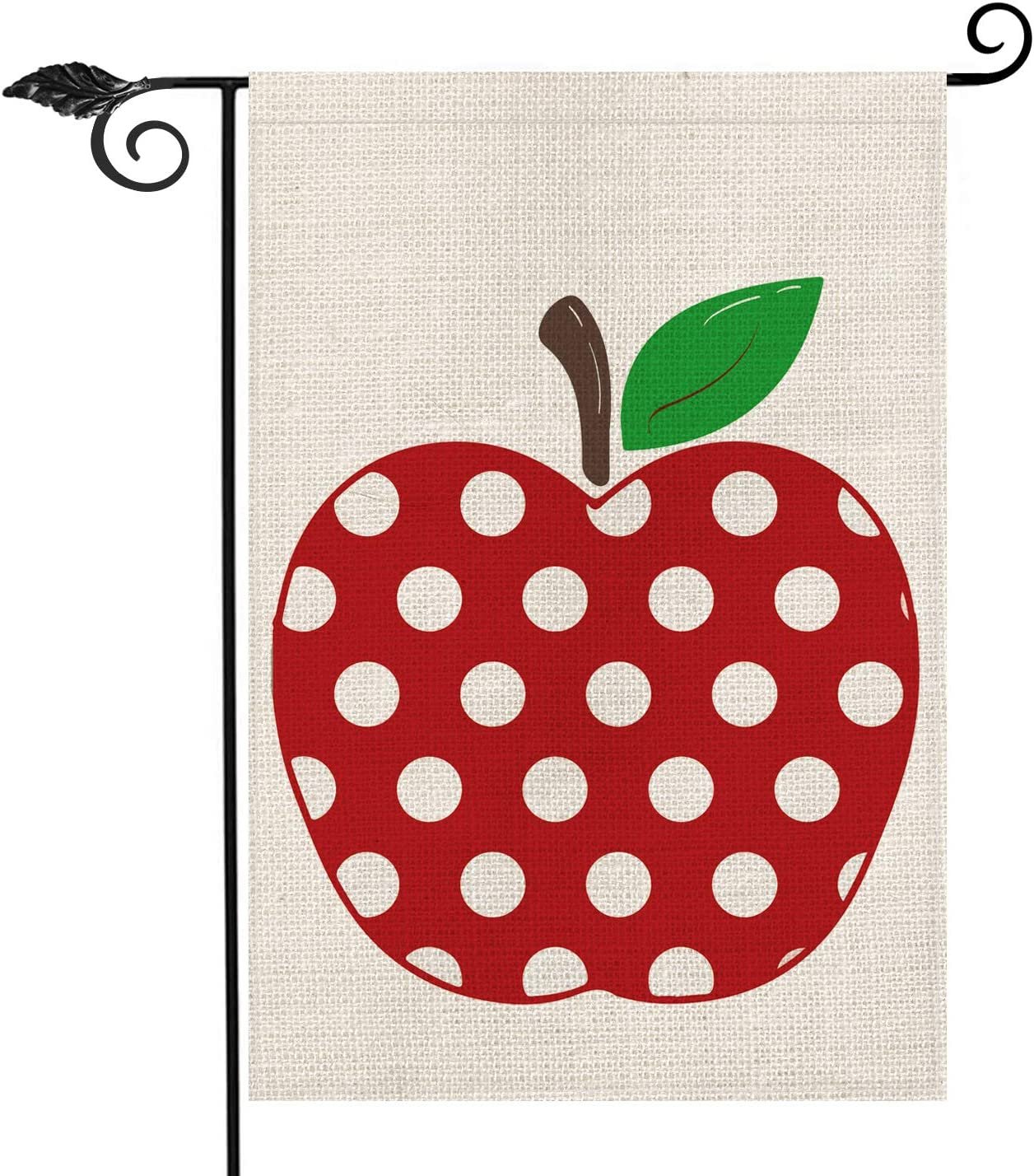 AVOIN Polka Dot Apple Garden Flag Double Sided, Back to School First Day of School Teacher Appreciation Rustic Farmhouse Burlap Yard Outdoor Decoration 12.5 x 18 Inch