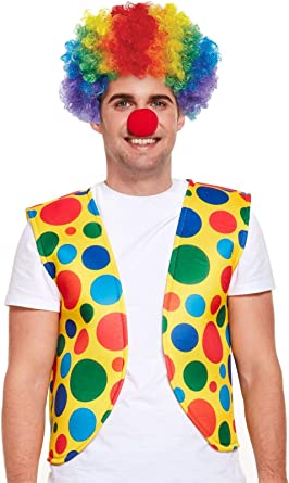 Adult Yellow Clown Wig Fancy Dress Accessory -Carnival Circus Afro Party