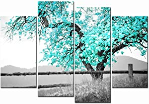 LevvArts 4 Panel Wall Art Black and White Teal Green Tree Picture Canvas Prints Nature Landscape Painting Art for Living Room Wall Decor Gallery Wrap Ready to Hang