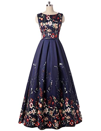 JoJoBridal Womens Long Floral A Line Evening Dresses Prom Gowns Navy Blue Size 2