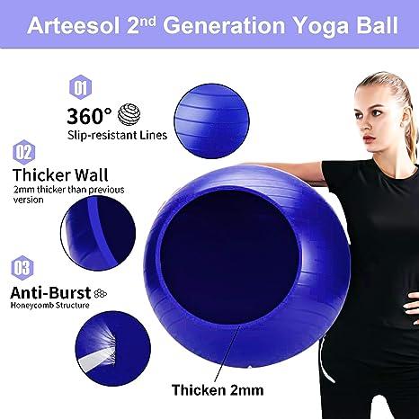 Darkblau-Srub, 65cm arteesol Gymnastikball 45cm//55cm//65cm//75cm Schwangerschaft Yoga Ball Auti Burst Core Blance Ball mit Schnellpumpe f/ür Pilates Training Fitness Geburt
