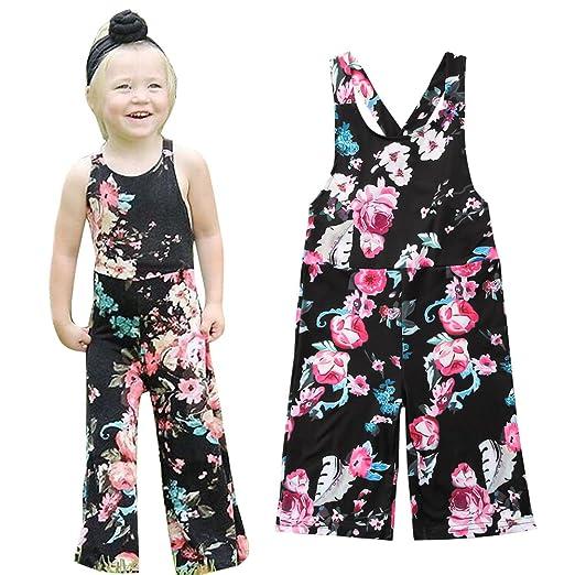 73f11fb5c725 Amazon.com  Guogo Toddler Kid Baby Girl Floral Romper Jumpsuit Strap ...