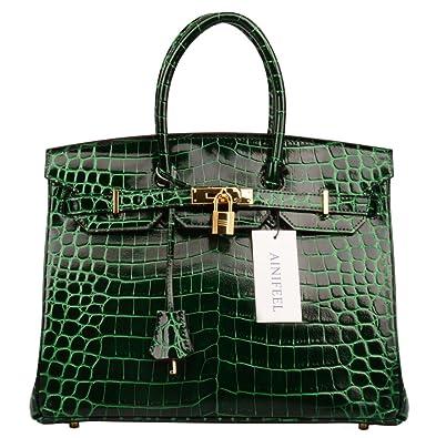92f3cfb97758 Ainifeel Women s Patent Leather Crocodile Embossed Top Handle Handbags  (30cm