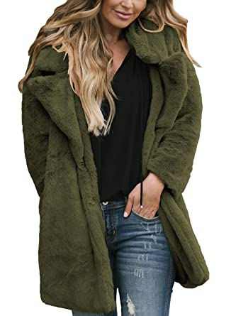 b188101971a57 Women's Fleece Cozy Open Front Button Faux Fur Lapel Loose Boyfriend  Cardigan Shaggy Outwear Ladies Coats
