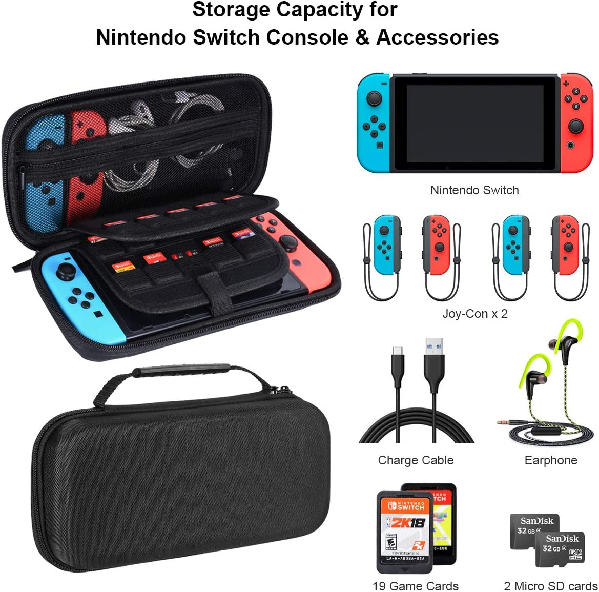 Fundas para Nintendo Switch con 19 ranuras para tarjetas de juego Estuche de juego de viaje con asa para Nintendo Switch (Negro): Amazon.es: Videojuegos