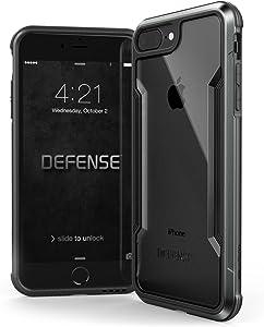 X-Doria iPhone 8 Plus & iPhone 7 Plus Case, Defense Shield Series - Military Grade Drop Tested, Anodized Aluminum, TPU, and Polycarbonate Protective Case for Apple iPhone 8 Plus & 7 Plus (Black)
