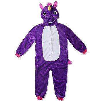 Katara Pijama con Capucha para niños Unicornio, Color Lila, 8-10 años (
