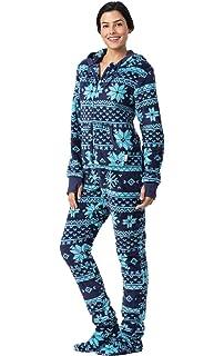 5c71e97d32 PajamaGram Fleece Onesies for Women - Hoodie Footie Pajamas Adult ...