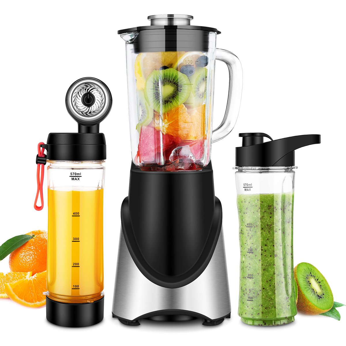 3 in 1 Personal Blender Vacuum for Frozen Fruit Ice Smoothie, 300W(24,000RMP) Powerful Motor, 6 Sharp Blades, TOBOX Portable Small Blender Single Serve with 21 oz Glass Jar & Two 20 oz Bottles, Black