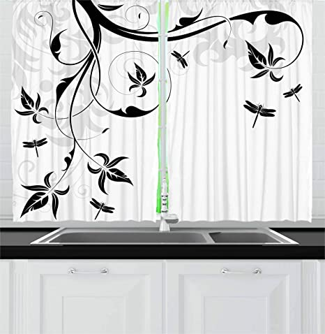 Ambesonne Dragonfly Kitchen Curtains Swirled Floral Background Damask Curl Branches And Leaves Print Window Drapes 2 Panel Set For Kitchen Cafe Decor 55 X 39 Light Grey Home Kitchen