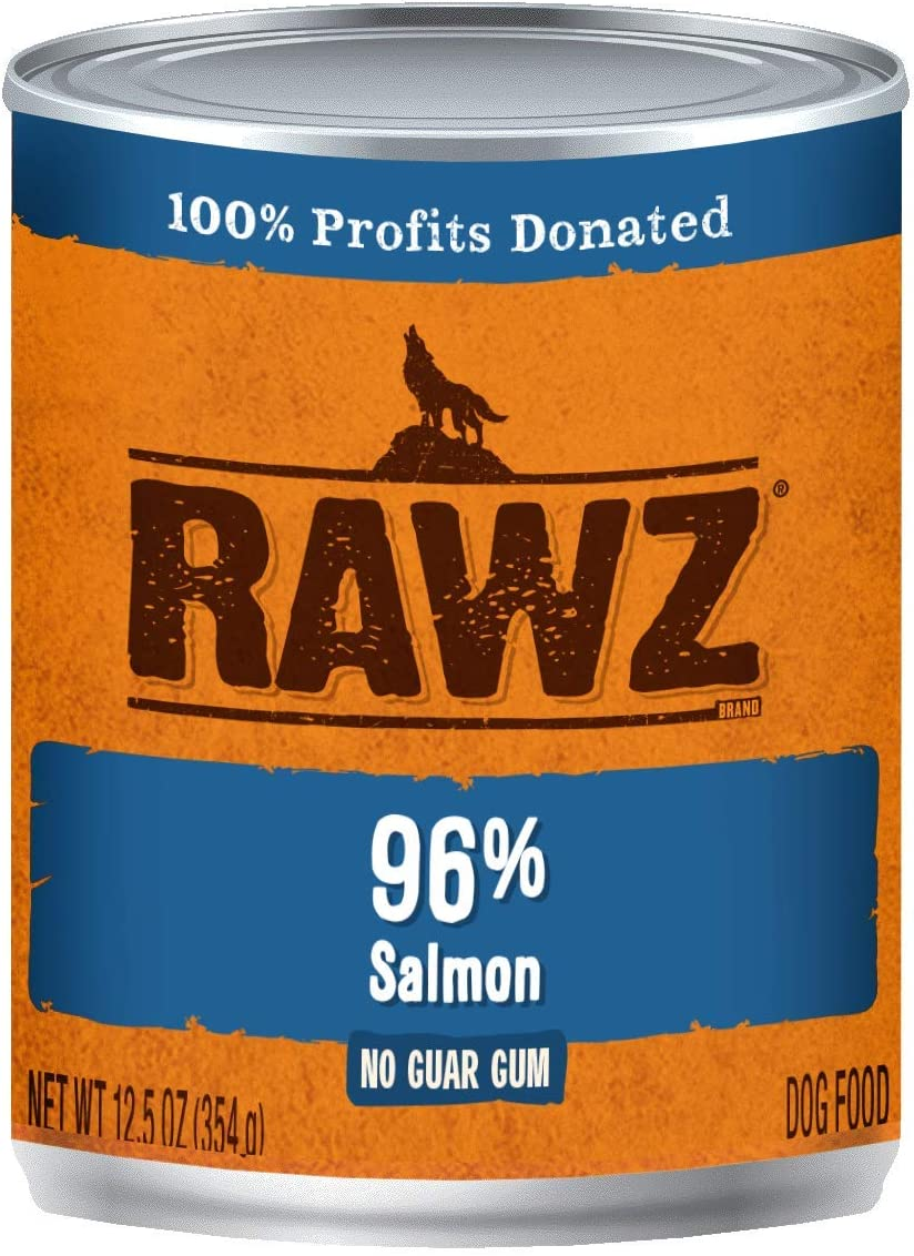 Rawz 96% Salmon Canned Food for Dogs 12/12.5 oz Cans