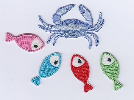 Sea life animals crab fish iron on sew on embroidered badge