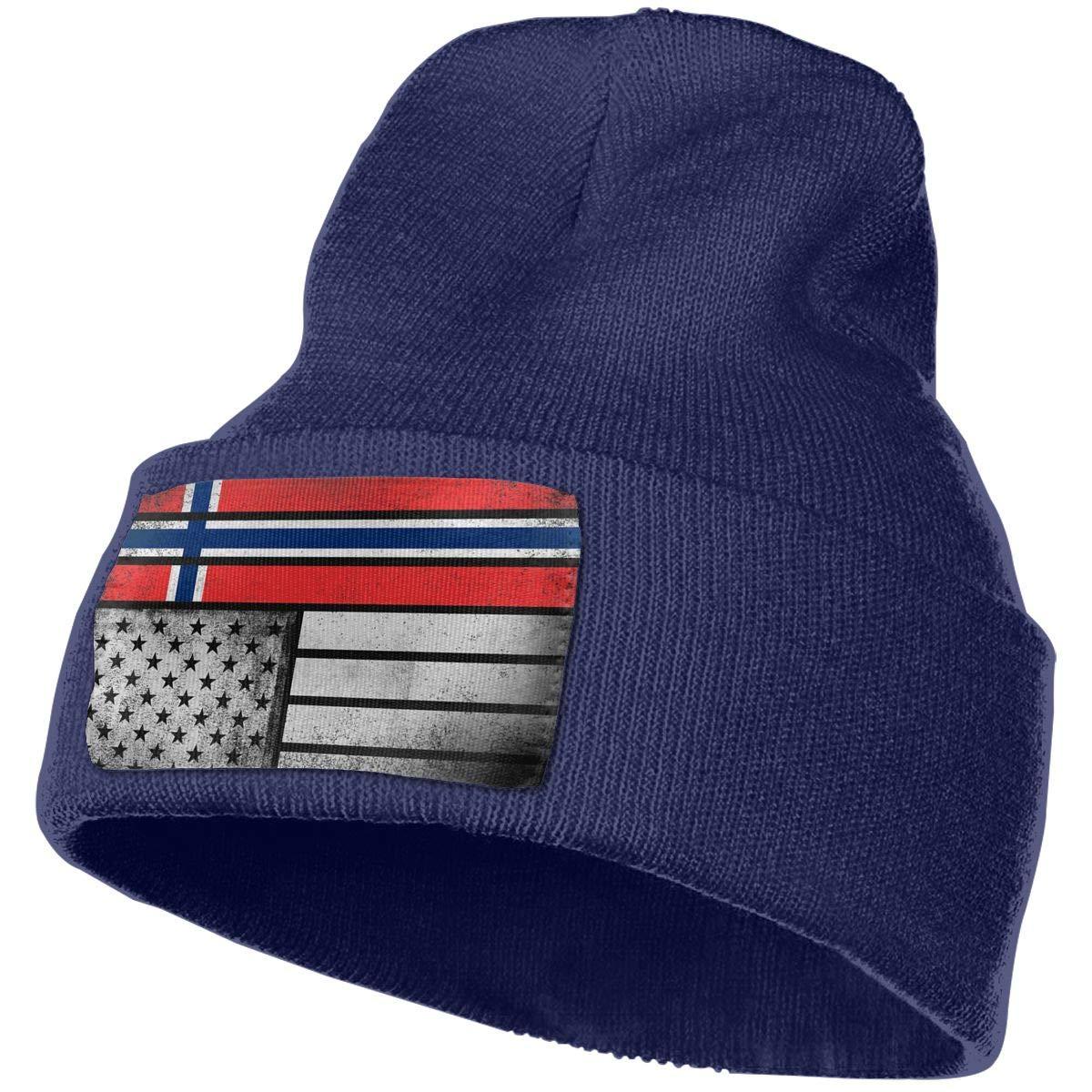 Z-YY Norwegian American Flag Unisex Winter Knitting Woolen Hat Warm Cap