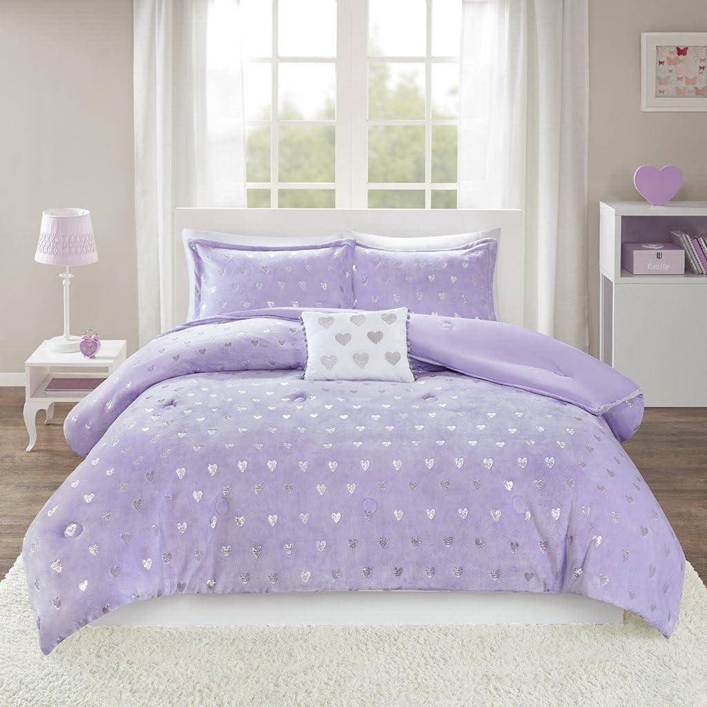 MI ZONE Rosalie Comforter Ultra-Soft Microlight Plush Metallic Printed Hearts Brushed Reverse Overfilled Down Alternative Hypoallergenic All Season Bedding-Set, Twin/Twin XL, Purple/Silver