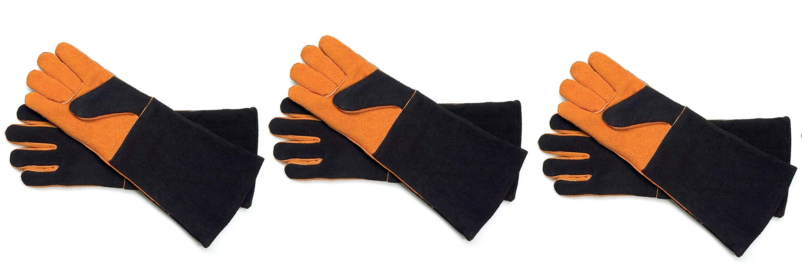 Steven Raichlen Best of Barbecue Extra Long Suede Grill Gloves (Pair) - SR8038 (Тhree Pаck)
